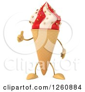 Clipart Of A 3d Strawberry And Vanilla Waffle Ice Cream Cone Character Giving A Thumb Up Royalty Free Illustration