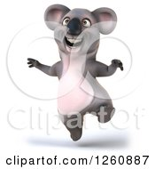 Clipart Of A 3d Koala Jumping Royalty Free Illustration