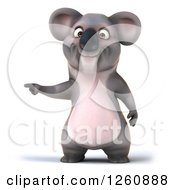 Clipart Of A 3d Koala Pointing Royalty Free Illustration
