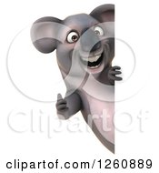 Clipart Of A 3d Koala Looking Holding A Thumb Up Around A Sign Royalty Free Illustration