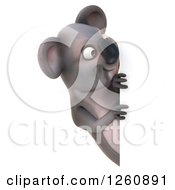 Clipart Of A 3d Koala Looking Around A Sign Royalty Free Illustration