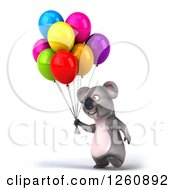 Clipart Of A 3d Koala Walking With Party Balloons Royalty Free Illustration
