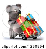 Clipart Of A 3d Koala Pushing Gifts On A Dolly Royalty Free Illustration