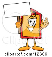 Price Tag Mascot Cartoon Character Holding A Blank Sign