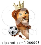 Clipart Of A 3d Lion King Holding A Soccer Ball Around A Sign Royalty Free Illustration
