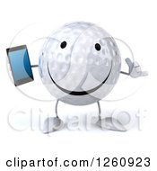 Clipart Of A 3d Golf Ball Character Holding A Cell Phone And Gesturing Call Me Royalty Free Illustration