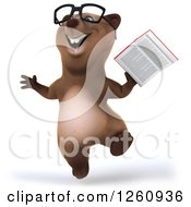Clipart Of A 3d Bespectacled Brown Bear Jumping With A Book Royalty Free Illustration