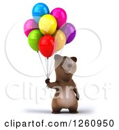 Clipart Of A 3d Brown Bear Holding Colorful Party Balloons Royalty Free Illustration
