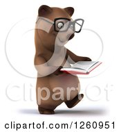 Clipart Of A 3d Bespectacled Brown Bear Walking And Reading A Book Royalty Free Illustration