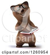 Clipart Of A 3d Bespectacled Brown Bear Pointing To And Reading A Book Royalty Free Illustration