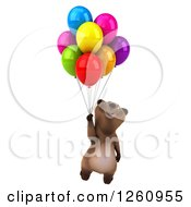 Clipart Of A 3d Brown Bear Floating With Colorful Party Balloons Royalty Free Illustration