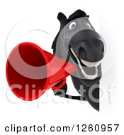 Clipart Of A 3d Black Horse Announcing With A Megaphone Around A Sign Royalty Free Illustration