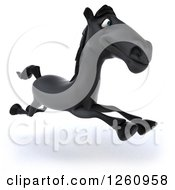 Clipart Of A 3d Black Horse Running Royalty Free Illustration