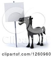 Clipart Of A 3d Black Horse Smiling By A Blank Sign Royalty Free Illustration