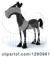 Clipart Of A 3d Black Horse Looking To The Left Royalty Free Illustration