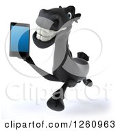 Clipart Of A 3d Black Horse Running And Talking On A Cell Phone Royalty Free Illustration