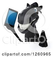 Clipart Of A 3d Black Horse Talking On A Cell Phone Over A Sign Royalty Free Illustration