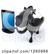 Clipart Of A 3d Black Horse Talking On A Cell Phone Royalty Free Illustration