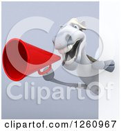 3d White Horse Shouting Through A Megaphone Around A Sign Over Gray