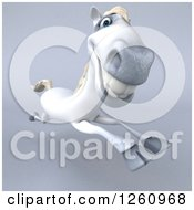Clipart Of A 3d Happy White Horse Running On Gray Royalty Free Illustration by Julos