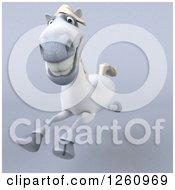 3d Happy White Horse Running On Gray