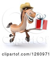 Clipart Of A 3d Brown Cowboy Horse Running With A Gift Royalty Free Illustration