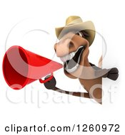 Clipart Of A 3d Brown Cowboy Horse Announcing With A Megaphone Around A Sign Royalty Free Illustration