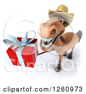 Clipart Of A 3d Brown Cowboy Horse Holding Up A Gift Royalty Free Illustration