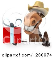 Clipart Of A 3d Brown Cowboy Horse Holding A Gift Over A Sign Royalty Free Illustration