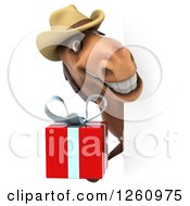 Clipart Of A 3d Brown Cowboy Horse Holding A Gift Around A Sign Royalty Free Illustration