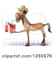 Clipart Of A 3d Brown Horse Wearing A Cowboy Hat And Holding A Gift Royalty Free Illustration