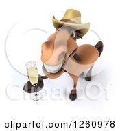 Clipart Of A 3d Brown Horse Wearing A Cowboy Hat And Toasting With Champagne Royalty Free Illustration