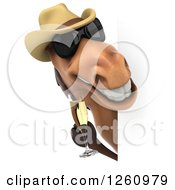 Clipart Of A 3d Brown Horse Wearing A Cowboy Hat And Toasting With Champagne Around A Sign Royalty Free Illustration