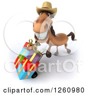 Clipart Of A 3d Brown Cowboy Horse Pushing Gifts On A Dolly Royalty Free Illustration