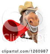 Clipart Of A 3d Brown Horse Wearing A Cowboy Hat And Announcing With A Megaphone Around A Sign Royalty Free Illustration