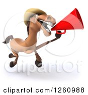 Clipart Of A 3d Brown Horse Wearing A Cowboy Hat Running And Announcing With A Megaphone Royalty Free Illustration