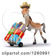 Clipart Of A 3d Brown Cowboy Horse Pushing Gifts On A Dolly Royalty Free Illustration by Julos