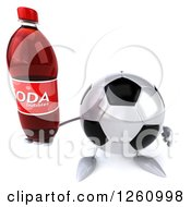 Clipart Of A 3d Soccer Ball Character Holding A Soda Royalty Free Illustration