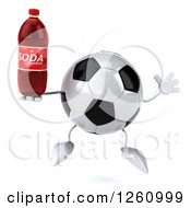 Clipart Of A 3d Soccer Ball Character Jumping With A Soda Royalty Free Illustration
