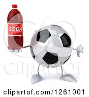 Clipart Of A 3d Soccer Ball Character Holding A Soda And A Thumb Down Royalty Free Illustration