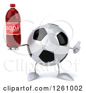 Clipart Of A 3d Soccer Ball Character Holding A Soda And Thumb Up Royalty Free Illustration