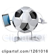Clipart Of A 3d Soccer Ball Character Holding A Smart Phone And Gesturing Call Me Royalty Free Illustration