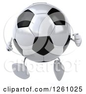 Clipart Of A 3d Soccer Ball Character Running Royalty Free Illustration by Julos