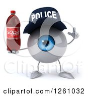 Clipart Of A 3d Blue Police Eyeball Character Holding Up A Finger And A Soda Royalty Free Illustration