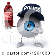 Clipart Of A 3d Blue Police Eyeball Character Holding A Soda Royalty Free Illustration