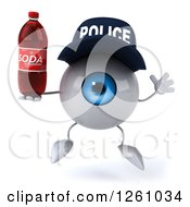 Clipart Of A 3d Blue Police Eyeball Character Jumping With A Soda Royalty Free Illustration