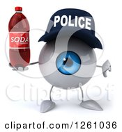 Clipart Of A 3d Blue Police Eyeball Character Holding A Thumb Down And A Soda Royalty Free Illustration