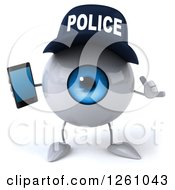 Clipart Of A 3d Blue Police Eyeball Character Holding A Smartphone And Gesturing Call Me Royalty Free Illustration