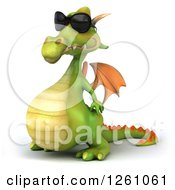 Clipart Of A 3d Green Dragon Wearing Sunglasses And Facing Left Royalty Free Illustration
