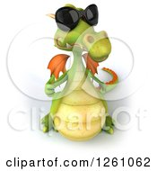 Clipart Of A 3d Green Dragon Wearing Sunglasses And Holding A Thumb Up Royalty Free Illustration